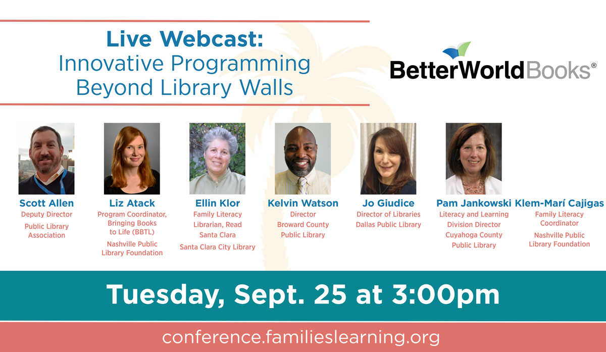 Live Webcast: Innovative Programming Beyond Library Walls, Tuesday, September 25 at 3:00pm