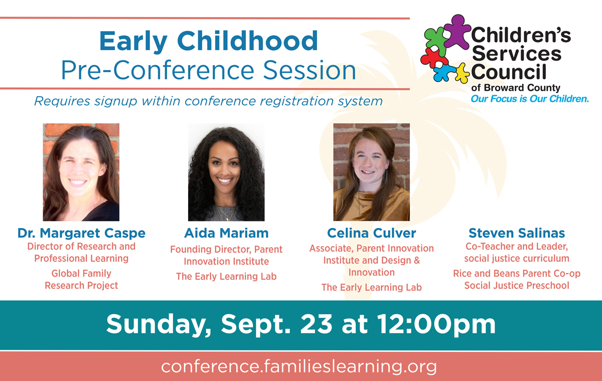 Early Childhood Pre-Conference Session, Sunday, September 23 at 12:00pm